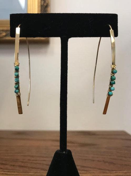 RAMONA Turquoise Wrapped Pull Through Earrings