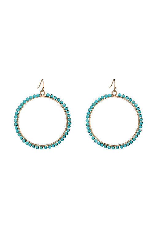 18kgp Turquoise Wrapped Hoops