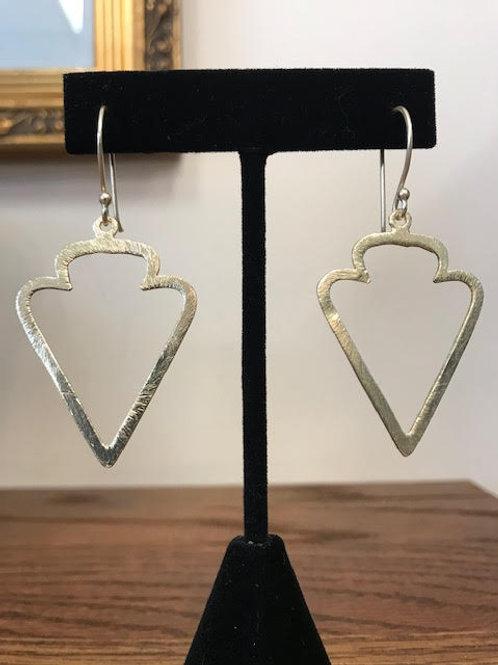 AMIRA Brushed Gold Arrowhead Earrings