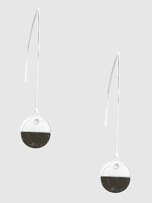 Jenna Black Jasper Silver Drop Earrings