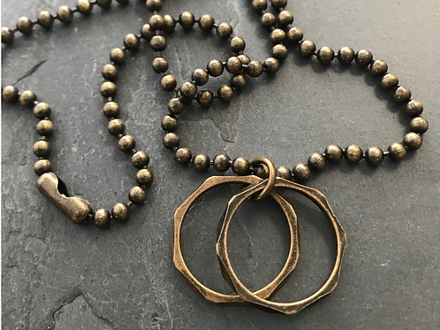 Double Brass Ring Men's Necklace