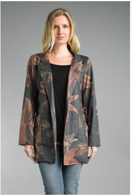 Printed Faux Suede Jacket