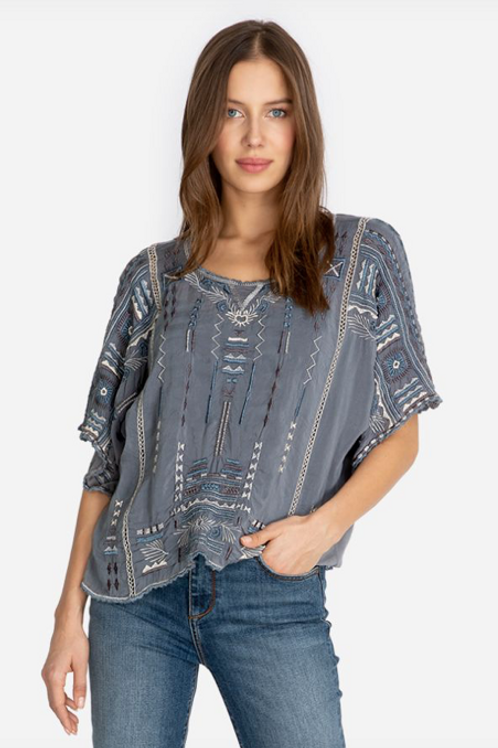 Johnny Was Grey Embroidered Jurnee Top