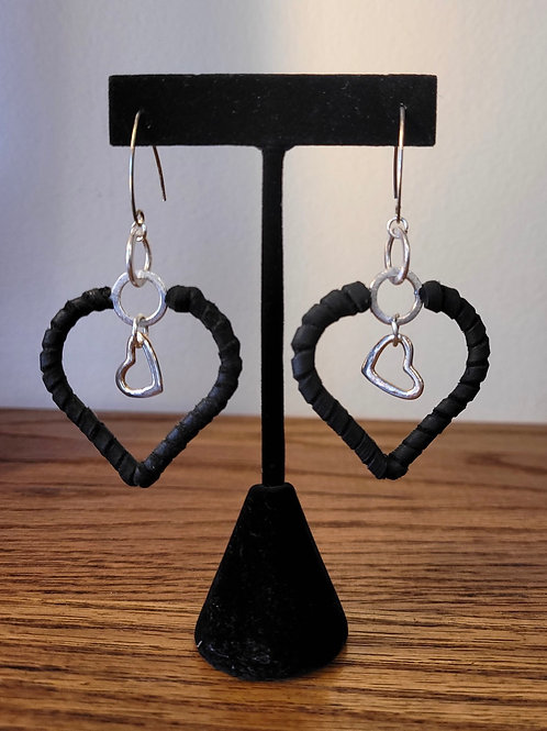 ALL LOVE Handcrafted Leather Heart Earrings