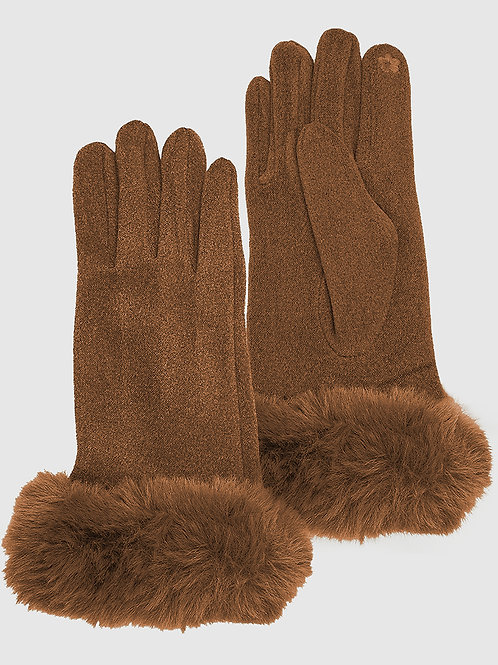 Vegan Fur and Suede Thermal Gloves