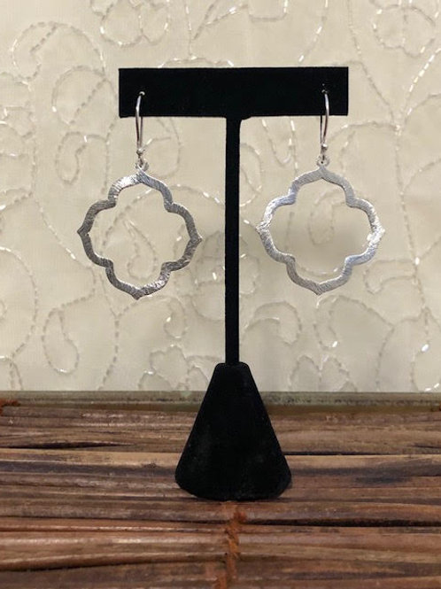 MARANDA Brushed Silver Quatrefoil Earrings