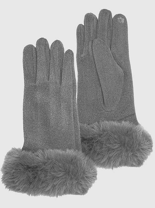 Vegan Fur and Suede Thermal Gloves