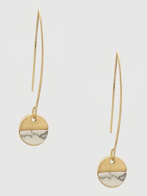 Gwyneth Howlite Gold Drop Earrings