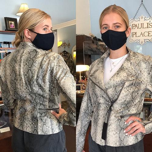 Gigi Vegan Snakeskin Moto Jacket
