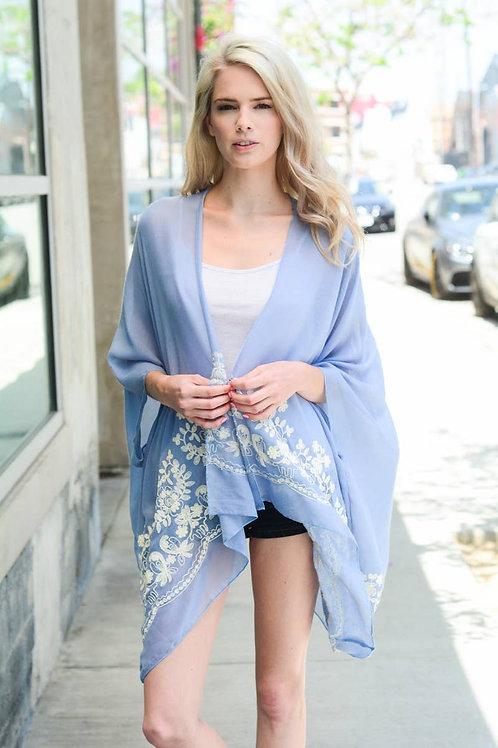 Sky Blue Embroidered Kimono