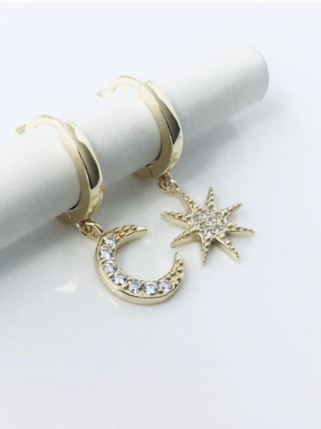 Moon and Star Huggie Earrings