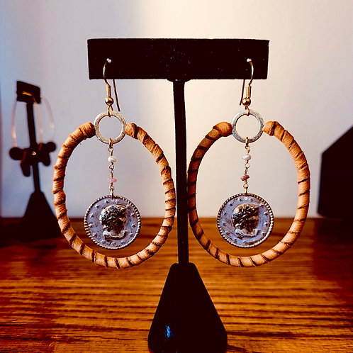 Handcrafted Leather Wrapped Coin Hoops