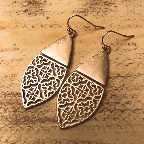 Lana Brushed Gold Filigree Hinge Earrings