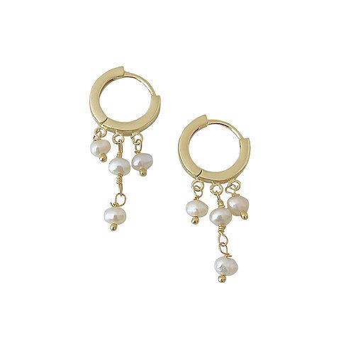 Felicia Fresh Water Pearl Huggie Earrings
