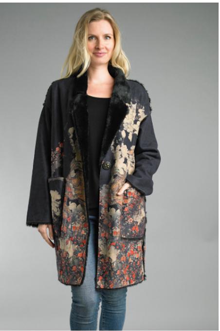 Faux Fur Printed Coat