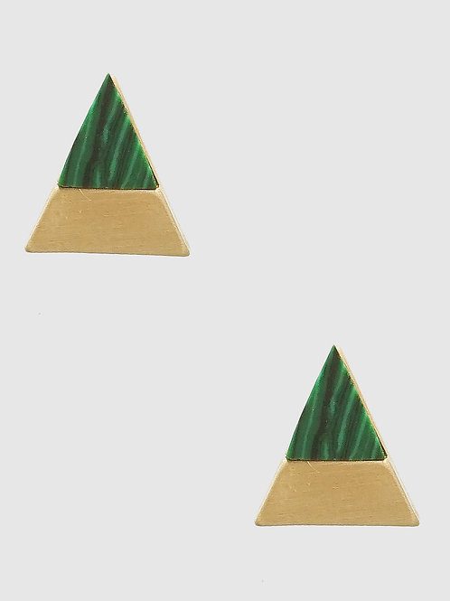 Leah Malachite and Gold Triangle Post Earrings