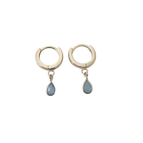 Avery Chalcedony Huggie Earrings