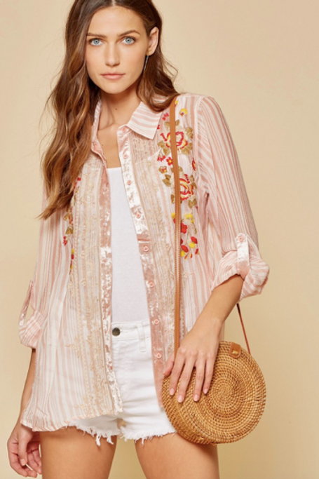 Lizzie Sheer Embroidered Shirt