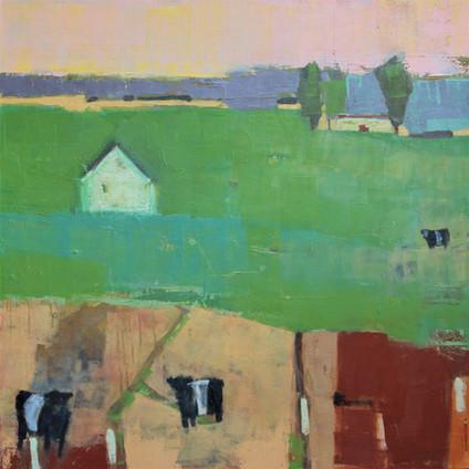 "Mowing Field   Oil on Canvas   30""x30"""