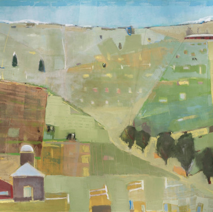 """Hay Bales   Oil on Canvas   48""""x60"""""""