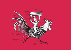 ilustración Frankie gallo corriendo