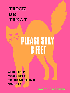 Pink and Orange Cat Flat Neon Halloween