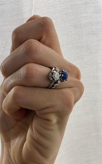 Anillo años 50 diamante y zafiro natural