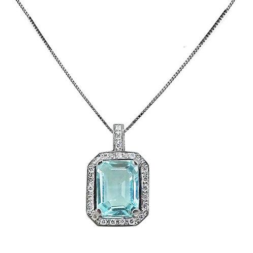 Colgante Aguamarina talla octogono y diamantes