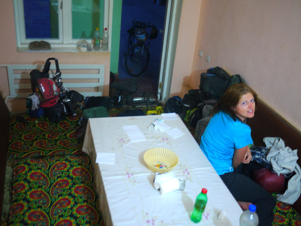 Kelly chilling out in our own little restaurant sleeping quarters!