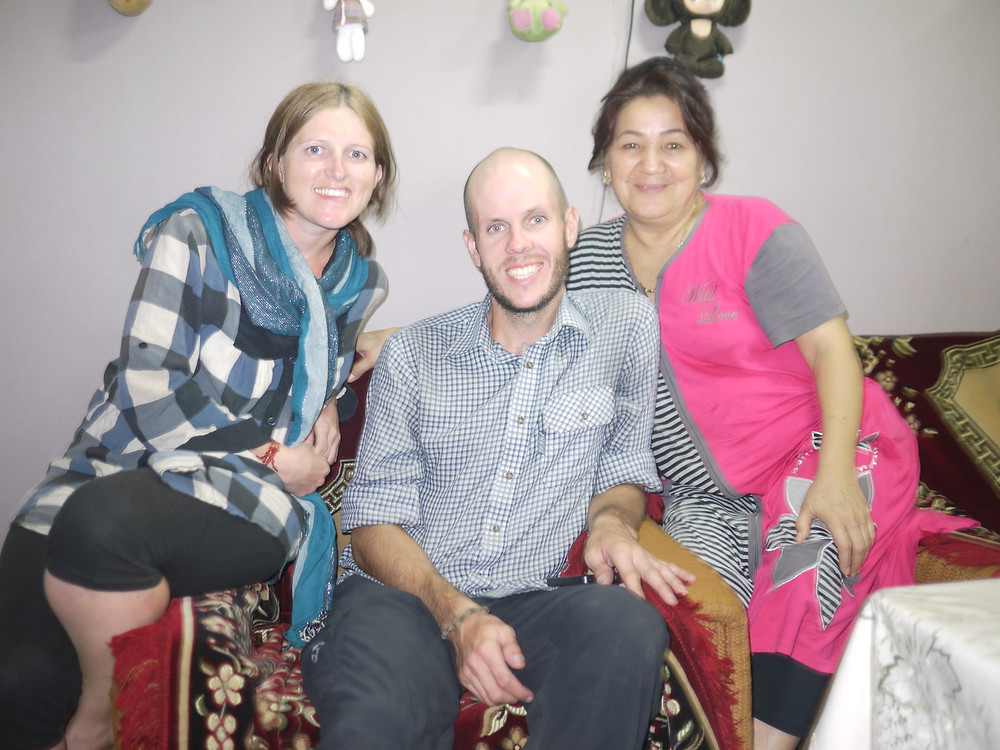 Hanging out with a kind local lady who invited us to stay in their family home outside Namangan
