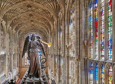 Angel on top of Kings Cambridge organ.jp