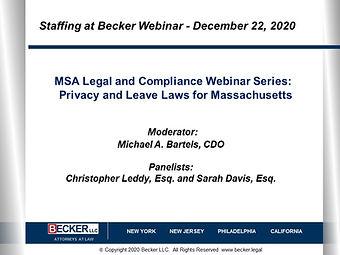 MSA Legal and Compliance Webinar Series