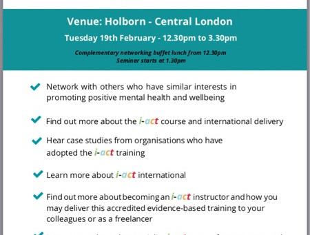 Free Mental Health and Wellbeing Seminar  Central London on19th February