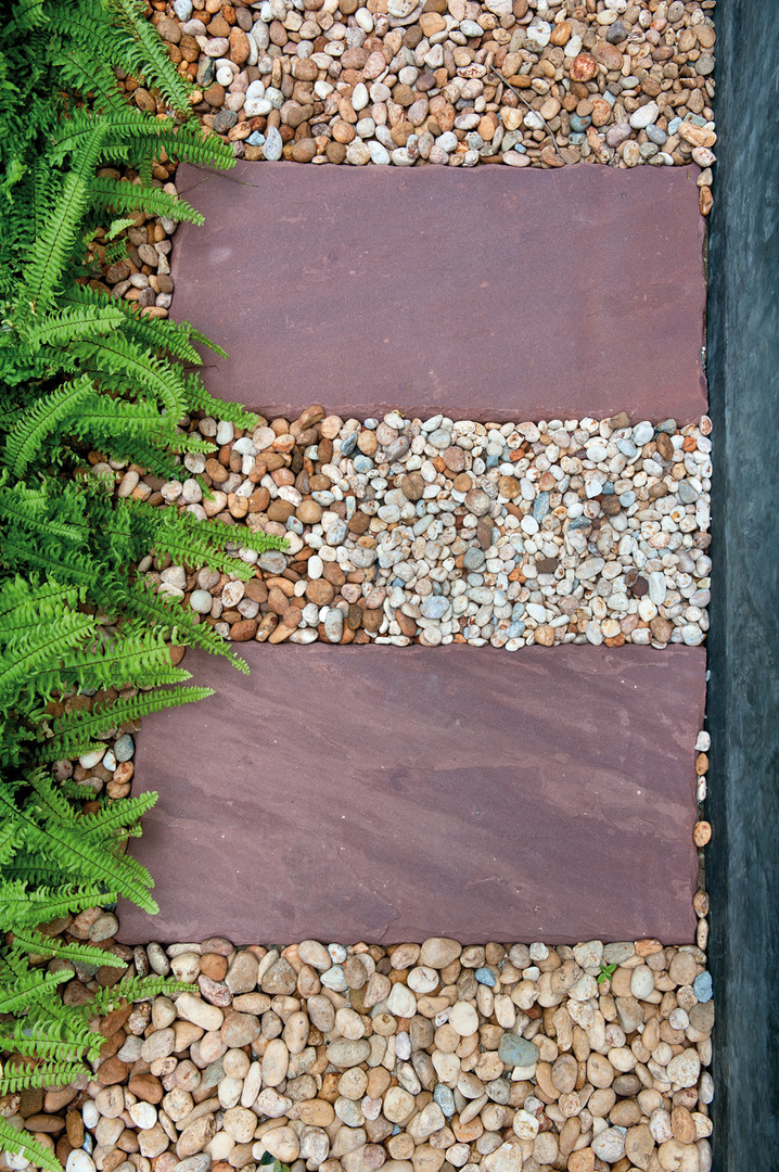 Slate Slabs, Rainbow Pebbles and Gravel