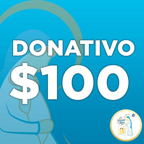 Donativo de $ 100.00