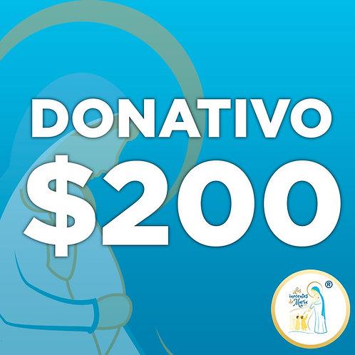 Donativo de $ 200.00