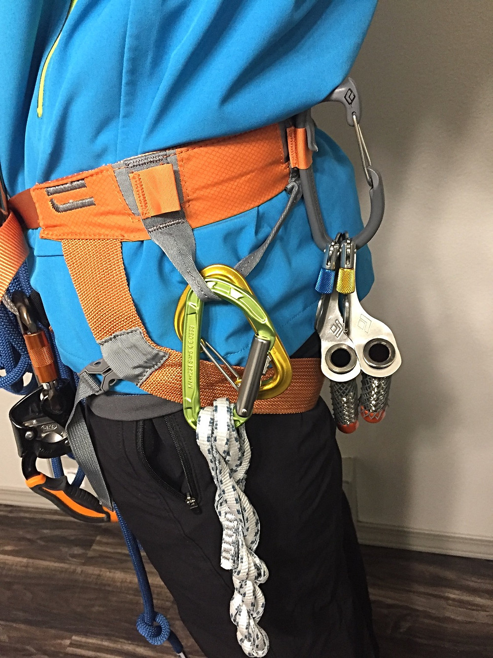 ice screws and carabiners