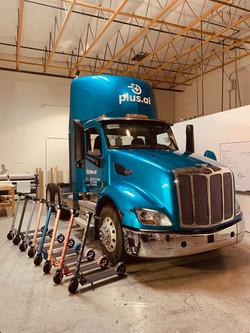 self driving semi truck custom blue wrap
