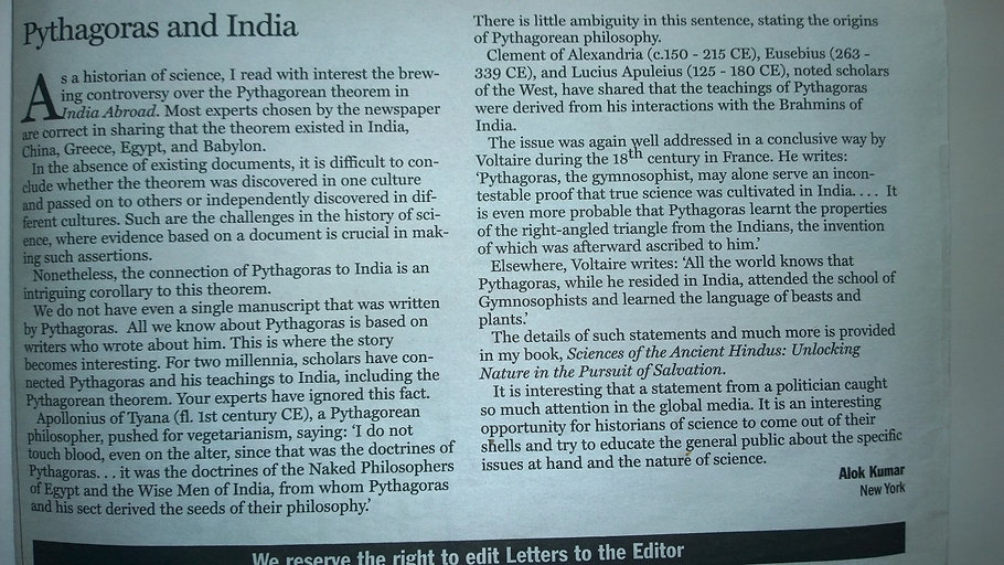 newspaper clipping saying Pythagoras and his sect derived the seeds of their philosophy from the culture and heritage of India.