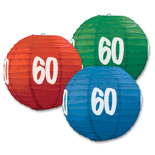 60th Birthday Paper Lanterns 3 Pk
