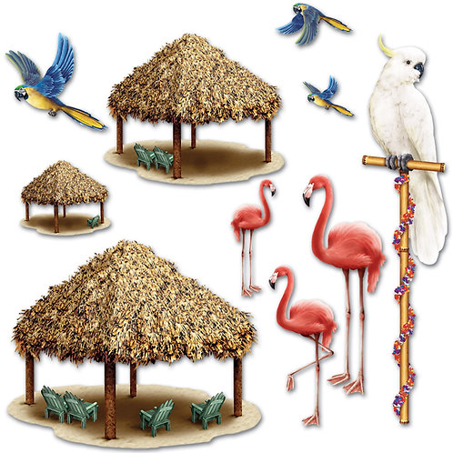 Tiki Hut & Tropical Bird Props 10 Pk