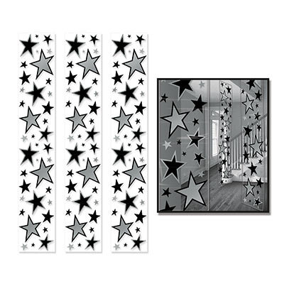 Black and Silver Deluxe 6Ft Star Ceiling Panels - 3 Pack