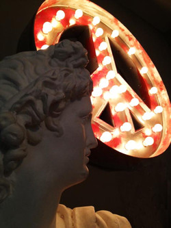 vintage bust and peace marquee sign