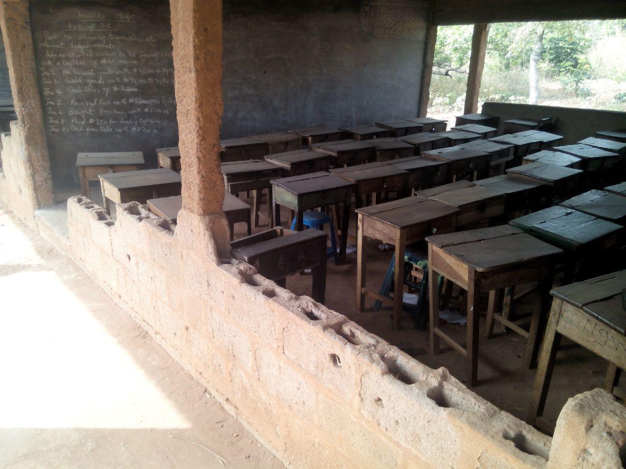 Von zwei Seiten sind die Klassenräume offen und weder wind- noch wassergeschützt.