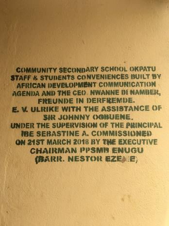 Die Community Secondary School Okpatu weihte am 21.März 2018 mit ihrem Schulleiter das Gebäude ein. Es wurde von der NGO African Development Communication Agenda und Nwanne di namba errichtet.