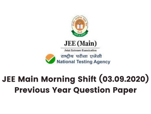JEE Main Morning Shift (03.09.2020) Previous Year Question Paper