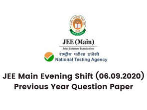 JEE Main Evening Shift (06.09.2020) Previous Year Question Paper