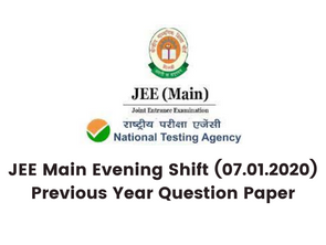 JEE Main Evening Shift (07.01.2020) Previous Year Question Paper