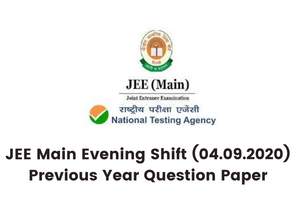 JEE Main Evening Shift (04.09.2020) Previous Year Question Paper