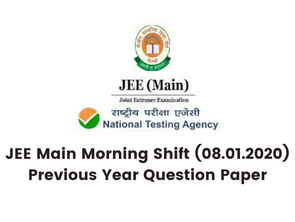 JEE Main Morning Shift (08.01.2020) Previous Year Question Paper
